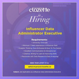 Are you ready to be part of #ClozetteCrew? Kalau kamu memiliki kualifikasi di atas, mungkin ini kesempatanmu untuk bergabung bersama kami. Yuk, kirimkan cv terbarumu, kami tunggu sampai 24 September 2019! #ClozetteID