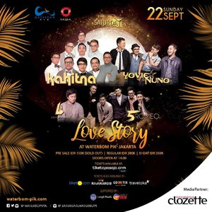 Let's sing along this Saturday with @kahitna @yovieandnuno @arsywidianto & @official5romeo di Love Story at Waterboom Pantai Indah Kapuk! More info: www.waterbom-jakarta.com.#ClozetteID