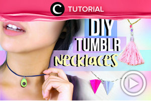 DIY Tumblr Necklaces  http://bit.ly/2rHRhqN. Video ini di-share kembali oleh Clozetter: @kyriaa. Cek Tutorial Updates lainnya pada Tutorial Section.