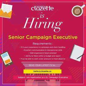 Clozette Indonesia is hiring! Kirimkan CV terbaru dan perkenalkan diri kamu melalui email ke hello@clozette.co paling lambat 25 April 2019, ya..#ClozetteID