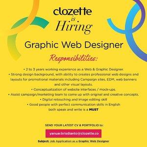 Clozette is hiring! Para graphic web designer berpengalaman yang di tahun 2020 ingin gabung jadi Clozette Crew, langsung kirim CV dan portofolio kamu ke email di atas, yuk..#ClozetteID