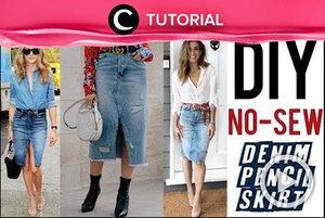 Rok denim seperti ini bisa kamu buat dari jeans bekasmu, lho. Intip caranya di: http://bit.ly/34yE4Sv. Video ini di-share kembali oleh Clozetter @aquagurl. Lihat juga tutorial updates lainnya di Tutorial Section.