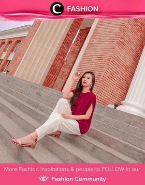 """There is a shade of red for every woman"" - Audrey Hepburn. Simak Fashion Update ala clozetters lainnya hari ini di Fashion Community. Image shared by Clozetter @devianatanujaya. Yuk, share outfit favorit kamu bersama Clozette."