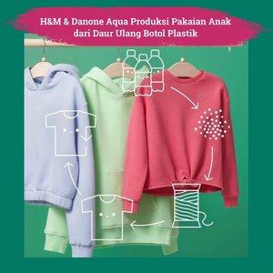 From bottles to fashion! H&M berkolaborasi dengan Danone-Aqua untuk memproduksi pakaian anak-anak dari daur ulang botol bekas. Mulai dari mengumpulkan botol plastik bekas, dipilih, dibersihkan, dan diproses menjadi serat poliester.  Produk ini salah satu inisiatif bottle2fashion dalam campaign Cleaning-Up fot the Future. Bottle2fashion adalah bentuk kemitraan Danone-AQUA dan H&M Indonesia untuk memperkenalkan proses produksi yang sirkular dengan memanfaatkan botol plastik bekas sebagai bahan baku berkelanjutan.   Penasaran dengan sustainable fashion koleksi mereka? Cek website id.hm.com, ya!  📷id.hm.com  #ClozetteID