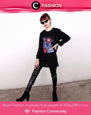 Clozette Ambassador @steviiewong challenged her inner punk by  wearing black metallic pants! Simak Fashion Update ala clozetters lainnya hari ini di Fashion Community. Yuk, share outfit favorit kamu bersama Clozette.
