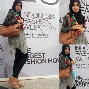 Last day at @indonesiafashionweek Super confee dress from my lovely sissy @caesareen 😘😘 (kado ultah ceritanya hehehe) #IFW2015 #hotd #clozetteid