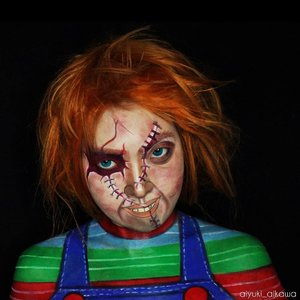 Legendary doll. Do you like this cutie-little-creepy-sweetie doll? I have so much fun when i'm doing this, transform myself became one of my favourite horror icon, Chucky. He just remind me about Valentine - a long long time ago. . . When i was in senior high school, my girl friends just got a gift from their BF, such a bear doll, chocolate, sweet candy. And it was sooo boring for me. I rather choose Chucky doll for my valentine present than all of those sweet stuff. I also found an articles saying that if you want to ask a girl for a date, you SHOULDN'T go and take her to the cinema to watch horror film unless if you want to get rejected and get her lose her feeling for you. Wth, it doesn't work for me. . i really appreciate someone who dare to throw away his/her fear and enjoy a bloody-scene together. . . Halloween mean so much for me. A special month for a date & creativity, a romantic-spooky air, deep darkness and a sweet songs from my fallen angel. . . But it doesn't mean that i don't like a sweet stuff. I'm still a girl - super shy girl, i can get blushing easily, and introverted person deep inside. So i still have a little corner in my heart for a sweet things and romantic dreams. . . ��� am i crazy enough? But yeah ofc i will marry a crazy creature (because love has no limit & boundaries) - Someone who have an #outofthebox ideas to explore this plain world together, make a beautiful artwork together, and ofc share our silent madness in this bumidatar. . . . . . . . . . . . . #Beauty #sfxmakeup #chucky #childsplay #art�#facepainting #specialeffectmakeup �#�U���威�#�∼�扎�純�#�∼�扎�純�#�������� #girl�#beauty�#���∼���瑯�扼�麻�#�喋�潦�����#�研�潦�� #clozetteID #specialeffect #indonesiabeautyblogger  #undiscovered_muas  #IndoBeautyGram #ibvsfx @ibv_sfx #31daysofmehronhalloween�#clozetteid #sfxartis #bringouttheboo #halloweenmakeup #halloween #���准�艾���潦��