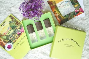 So as I promised~ This is Les 3 Petits Flacons from @lejardinretrouve , France, which consists of 3 mini perfumes of 15ml; Rose Trocadéro, Verveine d'Elé, and Tubéreuse Trianon. 💕Rose Trocadéro as its name, has flowery scent 💕Verveine d'Elé has a more woody, nature-like scent 💕Tubéreuse Trianon has a sweet vanilla-like scent I might be wrong with the scent description because I couldn't find the details of the top, middle, and base notes so I just depend on my sense of smell. All of the perfumes might come a little bit strong at first but the scent will get softer after a few minutes which I like. So far, my fave out of the three is Tubéreuse Trianon ^^ . . #NatashaJS #NatashaJSreview #endorseNatashaJS #VioletBrush . . . . . . . . . . . #clozetteid #perfume #france #paris #review #beautyblogger #blogger #likes #ggrep #indobeautysquad #lejardinretrouve #indonesian #indobeautyblogger #beautybloggerindonesia #frenchperfume #french #eaudetoillete #eaudeperfume #향수 #블로거 #뷰티 #셀스타그램 #맞팔 #좋아요