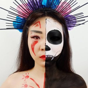 DAY 10 for #31daysofhalloween.Inspired Izanami.Izanami is Matron of the Death.Japanese Mythology!.Product details:@mehronmakeup facepaint@imagiccosmetics facepaint@artistry_indonesia eyeshadow palette@romand_indonesia @charis_celeb Lip Driver....#luellaartistry #luellamakeup #izanamimakeup #izanamicosplay #clozzetebeauty #clozetteid #makeupbarenginivindy #kipaart #halloween2019 #halloweenideas2019