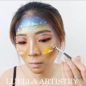 Here we go!!!!Aku cuma pake produk face painting untuk yang warna putih dan kuning matahari aja ya... Sisanya??? EYESHADOW PALETTE aja hahaha....Kaya nya baru kali ini bikin makeup look dengan pake eyeshadow dari 5 palette 😂😂 .Ini loh eyeshadow palette yang aku pake:❤ @nyxcosmetics_indonesia In your Element Palette Fire❤ @nyxcosmetics_indonesia Love You So Mochi Pastels Electric❤ @makeuprevolution Ultimate Colour Chaos Palette❤ @bclsinclair x @altheakorea Sunrise & Moonrise Eye Palette❤ Popfeel Eyeshadow Palette.Inspired @sarinanexie @astaririri @kennyccain..@bvlogger.id@cchannel_id @cchannel_beauty_id@bunnyneedsmakeup @bandungbeautyvlogger@ragam_kecantikan @zonamakeup.id @tampilcantik @indobeautygram @beautybloggerindonesia@100daysofmakeup@inspirasi_cantikmu @tips__kecantikan@setterspace@indovidgram @indobeautygram ...#bandungbeautyvlogger#luellamakeup #tampilcantik #indobeautygram #bvloggerid #cchannelbeautyid #beautiesquad #clozetteid #clozzetebeauty #bloggerindonesia #bloggerindo #beautilosophy  #indobeautysquad #beautybloggerindonesia #ragamkecantikan  #beautybloggerbandung #setterspace #bloggerbandung #muatribeid #kbbvmember #bloggermafia #bunnyneedsmakeup #kbbvfeatured #bandungbeautyvlogger