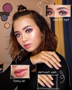 Muted colorful mood 💖 Eye look using Focallure Twilight, Lip Glaze using @mineralbotanica and abstract nails by me!....#clozetteID #wakeupandmakeup #indovidgram #bunnyneedsmakeup #beautybloggerindonesia #beautiesquad #charisceleb #tampilcantik #indobeautysquad #ootdindo