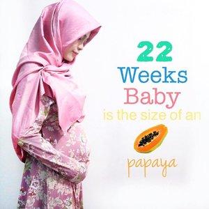 Perjuangan kita uda separo jalan nak 💃🏻💪🏻 Sehat terus ya kesayangan mama & papa @insanperd 😘💋👶🏻💞 . . #22weekspregnant #hijab #hijabers #clozetteid #pregnancy