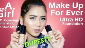 """[NEW VIDEO ALERT] L.A. Girl PRO Coverage HD Foundation VS Make Up For Ever Ultra HD Foundation @lagirlindonesia @lagirlcosmetics . . Is it really a dupe?? CLICK THE LINK IN MY BIO!!! 👌👌👌👌 . I compare the packaging, shades, size, price, consistency, application, coverage, finish look, and longevity. Enjoy!!! Special thanks to ci @liujanice for letting me try MUFE foundie so I can make this foundie battle💖💖 . . My shades : *LA Girl : nude beige *MUFE : Y335 . . 🎵 from Youtube Audio Library """"ChaCha"""" . . @indovidgram @indobeautygram @lagirlindonesia @lagirlcosmetics #lagirlindonesia #lagirl #lagirlcosmetics #lagirlIDbeautyinfluencers #review #lagirlvsmufe #comparison #ivgbeauty #beautyjunkie #beautyjunkies #indobeautygram #indovidgram #beautyenthusiast #beautyblogger #beautynesiamember #makeupjunkie #makeupjunkies #beautyvlogger #beautybloggerindonesia #clozette #clozetteid"""