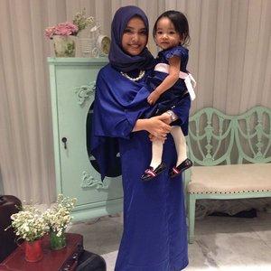 Matching navy blue with my baby #alikacelina my wedding-lovely-partner#dress #matchingoutfits #lastnight #wedding #partner #baby #photooftheday #love #ClozetteID #momnbaby #hijab #hijabers #hijabfashion