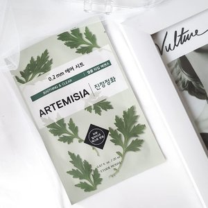 Etude Air Therapy - Artemisia . Now I know why this mask is one of the best sheet masks in 2019 @beaut.chat version. . Etude Air Therapy Sheet Mask has more than 20 variants, I almost tried all the variants and can easily say that Artemisia is the best! . Containing Artemisia Princeps Leaf Extract which helps calm and soothe redness on the skin while also healing acne / breakouts. . The sheet is super thin, just like the other variants of Etude Air Therapy Sheet Mask, made of breathable 0.2mm air sheet. . Has water-like essence, light and not sticky. It smells like most products with Artemisia, smells like herbs and mint hints. . I was very surprised when the sheet touched my skin, it gave shivers, it had a great soothing sensation! A mask with soothing sensation is definitely my fav!  . Before using this mask my skin was having problems with redness and some hormonal acne. When I lifted the sheet, I could see the redness on my face was greatly reduced, my acne also became more calm. It took time for the essence to be absorbed and when it was absorbed my skin looked glowing and felt well hydrated. I really love this mask, it has an affordable price too, so surely I will stock up this mask. . Have you ever tried this mask? . . . . . . #etude #etudehouse #etudemask #etudesheetmask #sheetmask #mask #sheetmaskreview #kbeauty #koreanbeauty #kskincare #koreanskincare #beautchat #bestmask #bestsheetmask #artemisia #soothing #shootingmask #calming #calmingmask #ClozetteID #skincare #skincarecommunity #beauty #beautycommunity #motd #maskoftheday