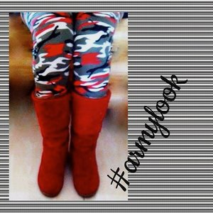 #red #boots #armylook #fashion #passion #lover #pictoftheday #Indonesia #Jakarta #ClozetteID #pattern #macan