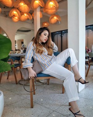 "You're meant to do extraordinary things, but it's OKAY to sit and lounge for now. Rest is necessary ✨ — Alinea Stripes Top from @shopataleen  White Pants from @chaasy.id  Starkella Heels from @maruthelabel  Clutch from @vallice.id // Get FREE cardholder WITHOUT any minimum purchase this You're meant to do extraordinary things, but it's OKAY to sit and lounge for now. Rest is necessary ✨ — Alinea Stripes Top from @shopataleen  White Pants from @chaasy.id  Starkella Heels from @maruthelabel  Moira Clutch in Cosmic Grey from @vallice.id // Get FREE cardholder WITHOUT any minimum purchase this October by mentioning ""PRISCA"" when you order 🤫💋 — 📸 @vlodelarosa  #PriStyleDiaries . . . . . . #whatiwore #portrait #traveling #travel #travelblogger #chic #edgy #parisianstyle #parisian #vintage #womensfashion #fashionistas #vacation #summer #travelblogger #lotd #bloggerstyle #fashion #styleinspo #instastyle #blogger #styleblogger #fashionblogger #influencer #ootd #fashioninfluencer #style #outfit #clozetteid"