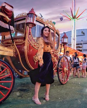 Carnival Mood 🎡🎢🎪🎠 . . . The little girl behind the carriage tells all 😊👍🏻 Could relate to her on a very deep level 😂 — Mustard Blouse from @standforwoman  Black Pleat Skirt from @macadamiahouse  Studded Nude Heels from @eliev.id — #PriStyleDiaries #ThePetiteMissyTravels 📸 @evelynegabriella . . . . . . . . . . #whatiwore #vintage #dreamy #castle #parisian #womensfashion #fashionistas #travelblogger #ootdinspiration #lotd #fashionblog #bloggerstyle #fashion #wiwt #styleinspo #instastyle #blogger #ootdfashion #ootd #styleblogger #blogger #fashionblogger #fashioninfluencer #singapore #singaporeblogger #style #outfit #outfitoftheday #clozetteid