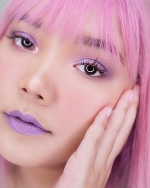 "Good morning 💜💗 . .  Product used : - lips : @corabeauty.id ""lilac"" . - eyes : @mizzucosmetics gradical eyeshadow velvet plum color 03 and 02 + @focallurebeautyid twilight shade Rose Vale . .  #lidyamakeup #motd #pinkhair #lilac #purplemakeup #lilacmakeup #clozetteid #indobeautysquad #tampilcantik #popbelacommunity"