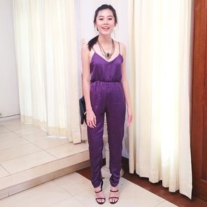 Jumpsuit love 💜 necklace and footwear from @aldo_shoes #clozetteid #ootd #jumpsuit