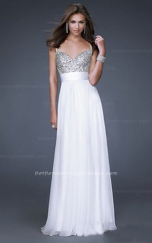 This gorgeous jeweled encrusted Dress Featuring Thin Straps, The beautiful heart-shaped bodice is encrusted with jewels, and a gorgeous chiffon A-line skirt finishes the look. If White, White, is not your color, the dress is also available in several other colors. This is just the dress for the girl who wants to look sensational at prom. This is the perfect prom or special occasion dress that will be sure to get you noticed! Ensure your special night will be one you'll never forget. Size: Standard Size or Custom Made SizeClosure: ZipperDetails: Jewel Encrusted Bodice, Layered Skirt, A-Line skirtFabric: Chiffon Length: Floor LengthNeckline: Heart-Shape, Slim StrapsWaistline: Empire WaistColor: WhiteTag: Sequin, A-line, Thin Straps, White, Long, Prom Dresses