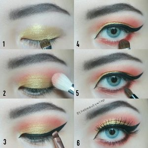 Easy Gold sunset ☉ .  1 = apply Drupadi on entire lid 2 = Rumbini on the crease & blend out well 3 = apply eyeliner as sharp as u can 🔪 4 = Rumbini again on lower lashline sambil di smudge2 dikit 5 = layer Arimbi on top of Rumbini 6 = dont forget falsies & you're good to go . Deets : @luxcrime_id golden eyes palette @lashnatic marigold . . . . #picturetutorial #inezcosmetics #instabeauty #makeupmafia #clozzeteid #fotdibb #featuredibb #instamakeup #undiscovered_muas #lashesonfleek #makeupjunkie #motd #makeupfeed #eotd #potdindo #motdindo #FDbeauty #instablogger#ivgbeauty #eyeshadowtutorial #eyelinertutorial #caradandan #eotdindo #clozetteid #beautybloggerindonesia #eyeshot #eyemakeuptutorial #stepbystep #eyeshadowlokal . .