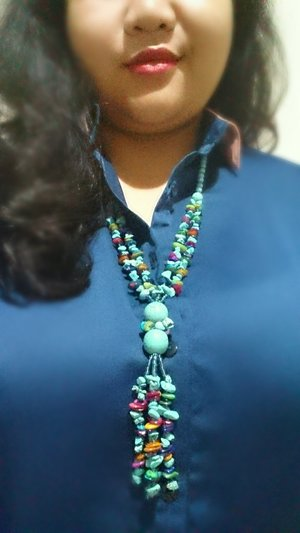 Thousands Shades of Blue, from Navy to Turquoise. Necklace: bought in Bali circa 2012