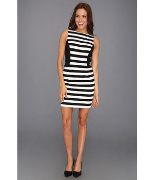 Vince Camuto Colorblock Stripe Dress Rich Black - 6pm.com