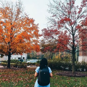 Saya suka musim gugur dengan warna-warni daunnya yang cantik. Romantis dan menyenangkan. Musim ini tuh bikin mood naik dan cuma pengen cuddle aja terus di sofa. Duduk manja sambil ciuman sampe capek dan  bibir bengkak. Hahaha..Kapan terakhir kamu ciuman sampe bibir bengkak? Mepet tembok atau di sofa? Eh..Bag by @iamkalibre 💕.#autumnvibes #maryland #fall #usatrip