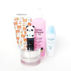 Recent #amskincareroutine : #apieu Milk Moist Cleansing Foam. #corinedefarme Gentle Rose Water. #tonymoly Panda's Dream So Cool Eye Stick. #klavuu White Pearlsation Cream // my 2nd jar (dear skin y u love this expensive moisturizer? 😔). #skinaqua Moisture Milk SPF50 PA+++. #clozetteid  #skincarejunkie #rasianbeauty #abcommunity #abskincare #kbeauty  #beautygram  #instaskincare  #スキンケア