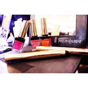 If you're thinking those are nail polishes, then you have been fooled. 😝  Those are YSL Baby Doll Kiss and Blush. It shares the same concept with lip and cheek product but it comes with a great pigmentation. My fave are shade no.4 which is a pretty orange color and no.6 which is a vibrant red. 💄💋 I think every girl should have at least one of these in their pouch... It is just sooo goooddd 😚  #yslgoogleglass  #akisstoremember #bblogger  #clozetteid #clozettedaily #ysl #lipproduct