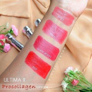 Here is the swatch😄😍 ULTIMA II ProCollagen Lipstick💞💜 Which your fav??😝 #lipjunkie  #lipstick  #lip  #lipswatches  #lipgloss  #lipswatch  #thelipswatchchallenge  #lipgloss #lasplash #lipcouture  #ultimaprocollagenlips #makeupaddict  #makeuplover  #anastasiabeverlyhills  #clozetteid  #amazingmakeupart  #lipart  #vladamua #lookamillion  #motdindo #lipstutorial #lipstickaddiction  #lipstickaddict  #lipstickaddicted #mattelipstick  #mattelips #lipsticklover #lipstickjunkie #ultimaii