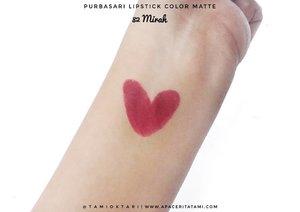#SwatchesbyTami .Lipstick hits pada jamannya (?) yang baru aku cobain sekarang 😂 Ini lipsticknya @purbasarimakeupid Color Matte 82 Mirah💋 Tipe warna yang sekarang jadi favorit karena cocok di skintone aku~.Review lengkap udah up di blog lho 👉 ((bit.ly/LipstickPurbs)) 👈 atau bisa langsung klik link di bio aja. Thankyouuu😍.#Beautiesquad #BeautygoersID #kbbvmember #kbbvfeatured #indobeautysquad #pkubeautyblogger #beautybloggerindonesia #bloggerperempuan #beautilosophy #HijabersBeautyBVlogger #bloggirlsid #BeautyRanger @ragam_kecantikan #bloggermafia #bunnyneedsmakeup #clozetteid