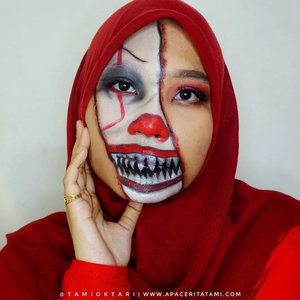 "#MakeupLookbyTami kali ini coba Pennywise Makeup 🙈  Just for fun!!.Products I Used👇🤡 @maybelline Fit Me Matte Poreless Foundation 230 Natural Buff🤡 @pac_mt All Day Coverage Liquid Foundation C03🤡 @riveracosmetics Eyebrow Matic 'Brown'🤡 @mizzucosmetics Valipcious Velvet Matte 705 Midnight Rush🤡 @beautycreations.cosmetics Eyeshadow Palette ""Elsa'🤡 @meisabulumata 'Alena'🤡 @viva.cosmetics Body Painting Red, White & Black.Inspired by @cakeface_bydrea 👩‍🎨.#HalloweenMakeup #HalloweenMakeupIdeas #PennywiseMakeup #PennywiseTheclown #MakeupHalloween #bunnyneedsmakeup #ClozetteID"