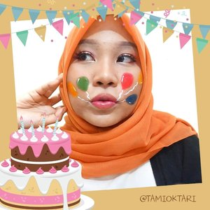 🗣 MELETUS BALON HIJAU, DORR!! 🎶.#MakeupLookbyTami kali ini temanya #BirthdayMakeup bareng @beautygoers 👩🎨 Face painting bagian balonnya seperti biasa, pake @viva.cosmetics yang warna Red, Green ,Blue, Yellow ama White👌.Langsung geser aja dah fotonya untuk liat hasil makeup dari beauty enthusiast lainnya💕.#BeautygoersID #beautygoersCollab #beautygoersCollabApril #BirthdayMakeupCollab #clozetteid
