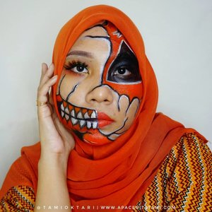 Masi edisi halloween, di #MakeupLookbyTami kali ini cobain #PumpkinSkull Makeup 🎃 .Products I Used 👇🎃 @catrice.cosmetics HD Liquid Foundation 040 Warm Beige🎃 @riveracosmetics Eyebroe Matic 'Brown'🎃Okalan Take Me Home 32 Color Palette🎃 @wardahbeauty Eyeliner🎃 @meisabulumata 'Betrice'🎃 @wardahbeauty Mascara🎃 @viva.cosmetics Body Painting🎃 @maybelline Superstay Matte Ink Assertive.Inspired by @emilyjaynefx @mbi_glam 👩‍🎨 .#pumpkinskullmakeup #HalloweenMakeup #HalloweenMakeupIdeas #bunnyneedsmakeup #ragamkecantikan #indobeautysquad #ClozetteID