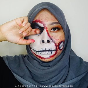 #MakeupLookbyTami kali ini masi edisi #HalloweenMakeup dan cobain #JackSkellington Makeup Look ☠ Just for Fun!!.Products I Used👇@getthelookid Infallible Pro-Matte Foundation '102 Sheel Beige'@maybelline Fit Me Matte Poreless Foundation '230 Natural Buff'@pixycosmetics Concealing Base '02 Sand Beige'@riveracosmetics Eyebrow Matic 'Brown'@marckscosmeticind Bedak Tabur 'Natural Beige'@beautycreations.cosmetics Eyeshadow Palette 'Elsa'@wardahbeauty EyeXpert Optimum Hi Black Liner@meisabulumata 'Lucy'@viva.cosmetics Body Painting White, Black & Red@elsheskin Nail Polish 'Adora' (Karena dia water based, jadi aku pakai untuk buat efek percikan darahnya).Inspired by @samuel.rayy 👨‍🎨.#HalloweenMakeupIdeas #Halloween #31DaysofHalloween #JackSkellingtonMakeup #HalloweenMakeup2019 #MakeupHalloween #ClozetteID