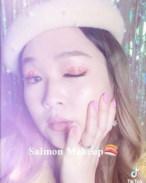 Makeup inspired by salmon eye patch @foreverskin_indonesia 🍣Who loves salmon and who loves makeup?😉It's salmon makeup!Wanna save inspiration of video content? Follow my account 😉Music from @tiktok @tiktok.indonesia -#salmonmakeup #creativemakeupart