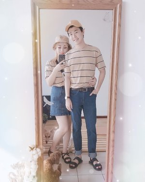 "Casual couple outfit on happy Saturday👫 How is your saturaday guys?🦄😉 Usually Korean couple like to wear ""Couple shirts"" iya i know Indonesia is not 😂😂😂 Couple look -> 커플룩 - T shirts from @spao_kr #mirrorselfie in my sweet home #clozetteid #koreancouples"