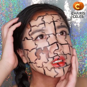 There are no extra pieces in the universe. Everyone is here because she or he has a place to fill, and every piece must fit itself into the big jigsaw puzzle - Deepak Chopra. I'm becoming a Jigsaw Puzzle for my last Halloween Makeup this year. Tried my best to create this look👀👀 Key point: @charis_official @romandyou Eye Pallete -> Glam Day: 03.Browny and Temptation Night: 03.Dark Chocolate(for shade and neck) @charis_official Me Nyeo Anti Pollution Sun BB(for base) @yslbeauty Glossy Stain - No.20(for lips) @wardahbeauty Optimum Hi Black Eyeliner(for creating Jigsaw Puzzle)  I'm joining @charis_official Halloween Makeup Challenge. Don't forget to check out my shop to see what's my favourite products-> www.hicharis.net/deahamdan . . . . #charis #charisceleb #halloweenwithcharis @charis_official #clozetteid #halloween #halloweenmakeup #halloween2017 #wakeupandmakeup #makeup #instamakeup #nyxcosmeticsid #bringouttheboo #facepaint #makeuphalloween #popart #popartmakeup