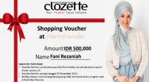 Alhamdulilah, dapet Hadiah karena menang Colorful Hijab Photo Contest dari Clozette Voucher Belanja senilai Rp 500.000,- di Butik Ria Miranda. Thanks Clozette.. :D