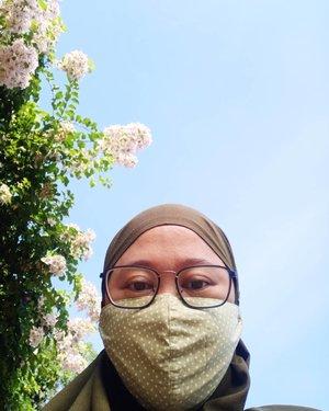 Waktu jalan beberapa hari lalu lihat segerombolan bunga, masyaaAllah rimbun dan cakep. Jadi inget design background kan makanya foto lah, hahahaha. Colek @nasoraya bagus ngga ni buat background?! Hahaha. 🤣..#Clozetteid #selfie #maskon😷 #hijab #grateful #love #life #socialdistancing #socialmediamom