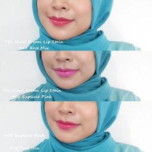 Nah kalo masih bingung aku punya swatch buat ngebandingin shade @yslbeauty Vinyl Cream 405 Explicit Pink, 412 Rose Mix dan nge-mix kedua shade tersebut.-Untuk review lengkapnya bisa cek di http://www.nonahikaru.com/2016/10/review-ysl-vinyl-cream-lip-stain.html?m=1#clozetteid #vinylcream #lipstain #instagood #instalike #blog #beautyblogger #lip #blogger #bloggers #makeupartist #makeup #makeupjunkie #lipstick #femaleblogger #dailymakeup #emakemakblogger #fdbeauty #femaledaily #hotpink #naturalmakeup #makeup