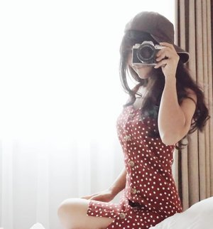 'CLICK'. I capture the beauty and the uniquely you. I keep the photo album in my heart. That's the place where no one can take away the memory of you and I :) #photograph #camera #snap #polkadot #dress #minidress #clozetteid