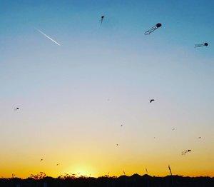 The jetplane & the flying kites look like the explosion, with the sunset as the center. 🌅🌋 The explosion of tadpoles. Ledakan kecebong😄 Surabaya Internasional Kite Festival 2017 #sunset #jetplane #tadpole #kites #sky #skyporn #surabayakitefestival2017 #surabayainternationalkitefestival2017 #kitefestival #kite #layanglayang #event #lifestyle #photooftheday #pictureoftheday #surabaya #wonderfulIndonesia #pesonaIndonesia #travel #traveling #traveler #clozetteid