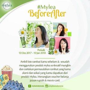 Hello, girls! Mylea girls! Mau dapet Voucher Belanja jutaan rupiah & Movie Card gak?? Yukk ikutan kompetisi foto #MyleaBeforeAfter 🤗 Caranya gampang, kok. Just do what your daily do..photo!😄 Cukup foto rambut kamu sebelum & sesudah menggunakan produk Mylea, dan ceritakan permasalahan rambut yang kamu alami. Kasih juga solusi yang kamu dapatkan setelah menggunakan produk Mylea.😉 Upload & tag ke akun social media Mylea ~> @myleaindonesia Tag 3 teman kamu ya. Pastikan akun sosial media kamu tidak di-private!  Jangan lupa gunakan hastag #MyleaBeforeAfter #RambutMylea #SehatTerawat #Mylea  Buruan ikutan ya, karena akan dipilih 3 pemenang utama & 3 pemenang hiburan!! Banyak, kan?! Yuk yuk foto bareng mylea kamu😉  #MyleaBeforeAfter #RambutMylea #SehatTerawat #Mylea #Quiz #hair #beauty #clozetteid #beauty #competition #kuis #kontes #photocontest