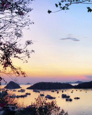 Merindukan sunset-twilight yang udah seabad ini tidak muncul. Siapa sih yang ganggu?😐 Labuan Bajo sunset-twilight 🌇 view 😍  #pesonaIndonesia #saptanusantara  #sunset #twilight #view #LabuanBajo #Flores #NTT #Indonesia #pesonaIndonesia #nature #naturelovers #wonderfulIndonesia #Travel #traveling #traveler #tourism #beautiful #boat #trees #hill #photooftheday #sky #skyporn #clozetteid