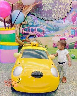 """Maa shaaallaah Laa Quwwata illaa Billaah 🐻🍯🐝""""Daddy, this Pooh Car is Cool, but I guess I want it in his original costum. What do you think? 🚘💸"""".#TomicaDisney #DisneyMotors #WinnieThePooh #christopherrobin #DisneyBaby #ArchieZayden #MoonFamily🌙"""