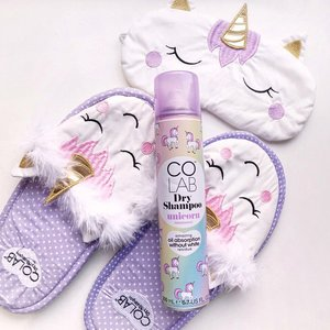 Unicorn dreams 🦄 smells so sweet and magical ✨ a life saver for bad hair day ! Sprinkle and sparkle to fantasy land with @colabhairid . . . . #shotbystevie #flatlay #collabwithstevie #colabunicorn #colabnewlaunch #dryshampoo #unicorn #pastel #clozetteid