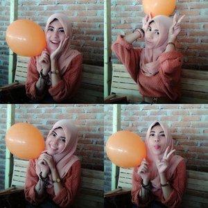 tema : i love orange! #balloon #ClozetteID #ColorfulHijab